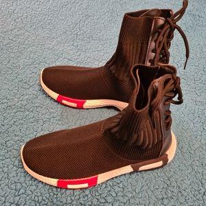 36 Size Black Strechable Boots Korean Hiphop Shoes